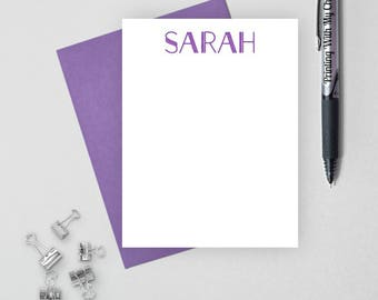 Personalized stationery set,  personalized stationary set,  personalized note card set, flat note card, mens personalized stationery, Sarah