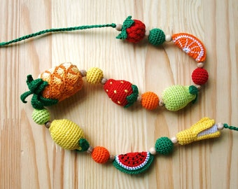 Crochet Nursing necklace with fruits and berries Teething necklace for mom Newborn Breastfeeding necklace Babywearing Organic wooden beads