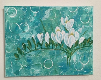 Handmade Floral Acrylic Painting / 8 x 10 on Stretched Canvas / Blues and Whites