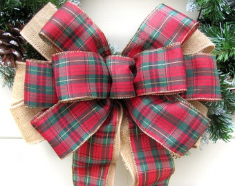 Burlap Christmas Bow, Burlap Wreath Bow, Burlap Plaid Bow, Christmas Wreath Bow, Plaid Wreath Bow, Plaid Burlap Bow, Plaid Christmas bow