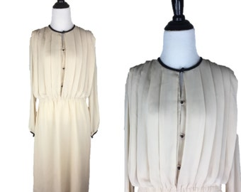 80s Victor Costa Dress / 1980s Sheer Dress / Vintage Off-White Dress / 80s Day Dress / Long Sleeve Dress / Pleated Dress / Victor Costa L XL