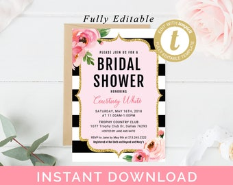 Kate Bridal Shower Invitation Editable Template, Spade Baby Shower  Invitations, Black Striped Invite, Printable Floral Bridal Shower Invite