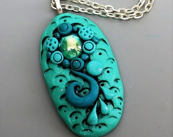 Polymer Clay Pendant, Mermaid Pendant in Aqua Blue with Vintage Emerald Glass Cabochon, Ocean Theme Pendant, Mother's Day Gift Idea