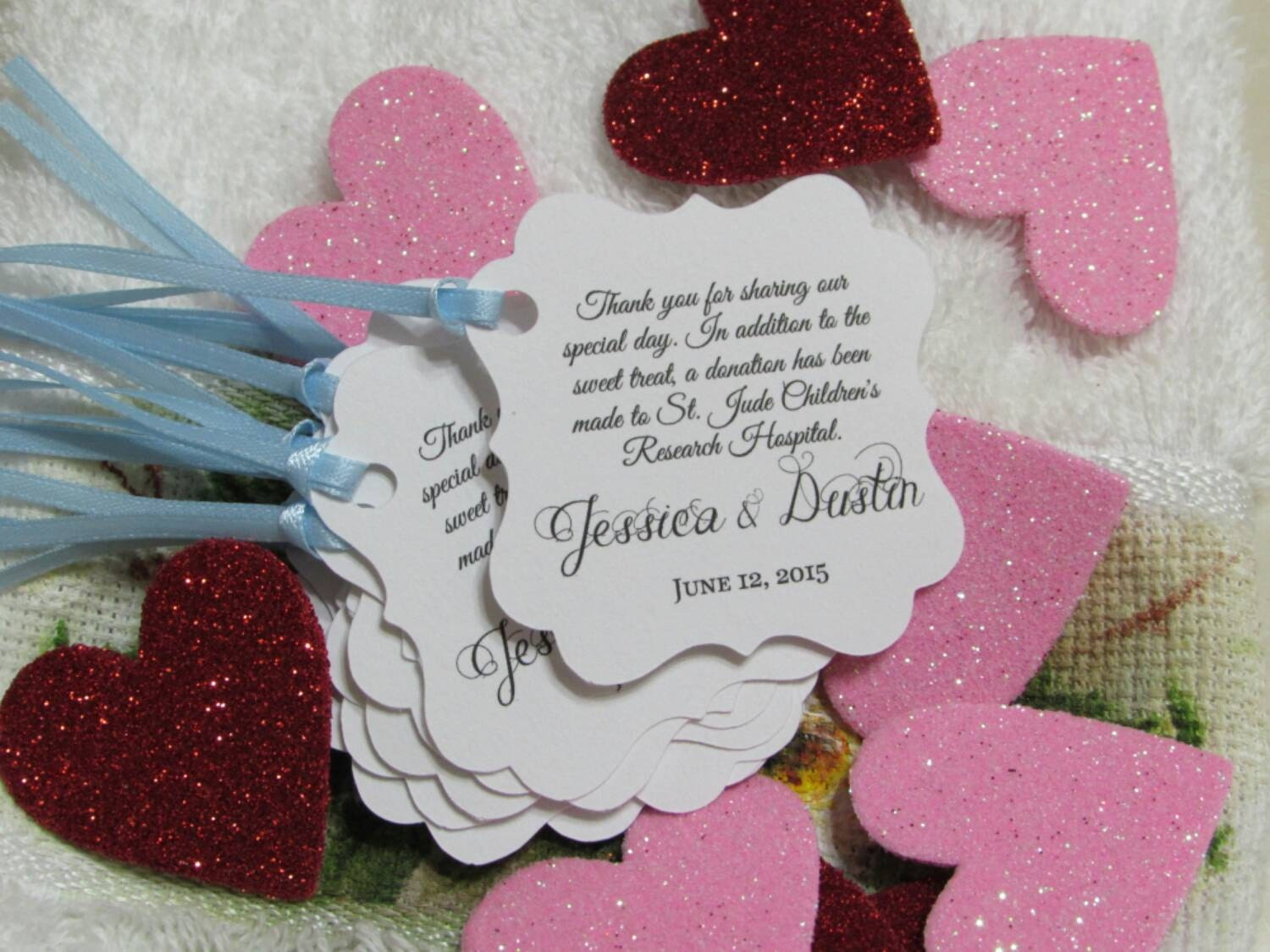 Personalized Wedding or Bridal Shower Donation Favor Tags