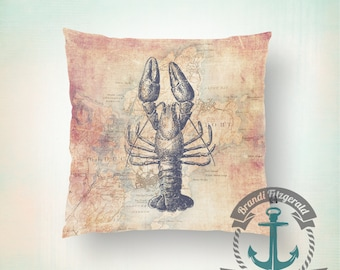 Throw Pillow | Lobster | Vintage Lobstah Rockport, Mass Nautical Mariner  | Size and Price via Dropdown