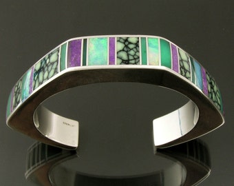 Sterling silver bracelet inlaid with sugilite, chrysoprase, Australian opal and chalcosiderite.