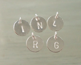 Handmade Sterling Silver Alphabet 6 mm Disc Charm Pendant,Minimalist Collections,  PC-0120