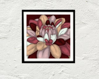 Burgundy painting flower art reproduction print