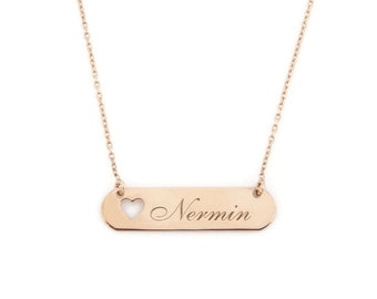 Personilized Name- Gold Name Necklace with Heart-Nameplate Necklace, Personalized Name Necklace, Customized Necklace, Name Plate Necklace