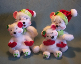 Pair of Annalee Polar Bears Figures