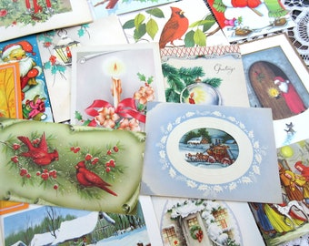 Vintage Christmas Cards  Unused  Greeting Cards Holiday  - Set of 17 cards.