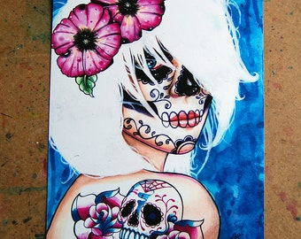 Tattoo Art Print - Hand Signed - Day of the Dead Sugar Skull Girl Tattoos Lies Art Print By Carissa Rose Art Print 5x7, 8x10, or 10.5x13.75