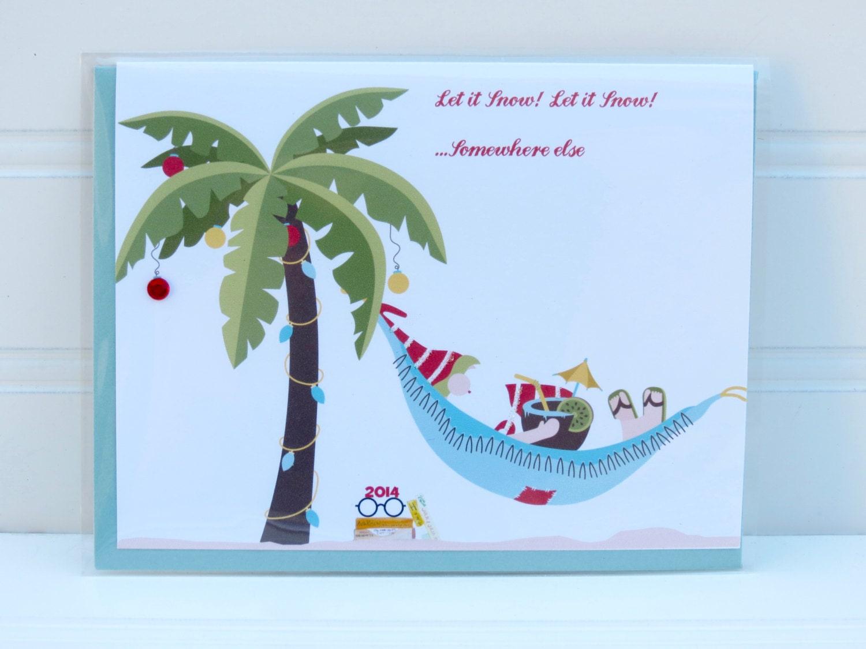 Beach santa card palm tree christmas card beach christmas zoom kristyandbryce Image collections