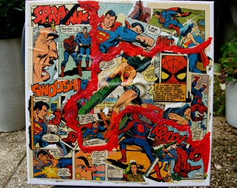 """""""3 COMICS"""" COLLAGE on canvas COMICS comic book from the 70s"""