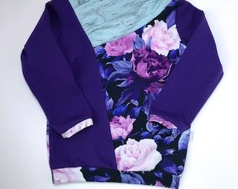 Ultraviolet floral cowl neck shirt