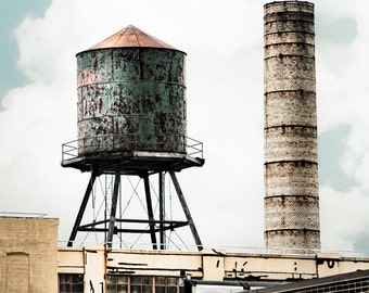 Water Tower Photograph - Brooklyn Industrial Wall Decor, Urban Chic, Square Format Signed Print
