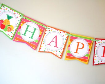 Tutti Fruitti Party Birthday Banner - Two-ti Fruity Happy Birthday Banner - Fruit Birthday Party Decorations Fully Assembled