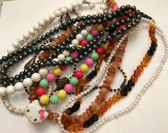 Lot Seven Vintage Plastic Beads Necklaces for Wear or Craft