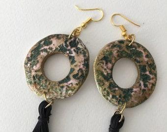 Rustic earrings with tassel/ancient tassel jewelry/dangle drop earrings/big round earrings/chunky earrings/boho  black earrings/womens gift
