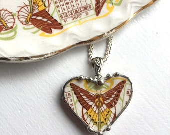 Broken china jewelry, heart pendant necklace, antique 1915 Art Nouveau, butterfly luna moth, Dishfunctional Designs, upcycled recycled china