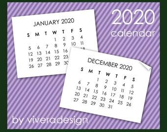 2020 Calendar Clip Art in Sans Serif Font - Instant Download - Mini Calendar