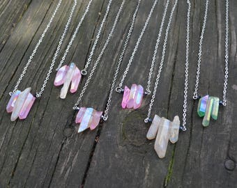 Aura Quartz Points Necklace