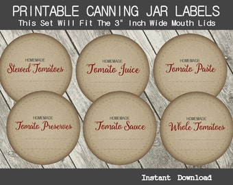 """Vintage Wide Mouth Canning Jar Labels - Printable 3"""" Inch Stickers - PDF - Home Canned Tomatoes - Tomato Paste - Tomato Juice - CU OK"""
