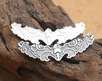 0.99 Fins silver, 990 Sterling Silver Bat Bead, Sterling Bat Beads, 925 Silver Bat Beads, Long Bat Bead, Long Bat Medal Beads - LA378
