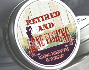 12 Retirement Mint Tins - RetireMints - Gone Fishing - Retirement Favors - Retirement Decor - Retirement Mints - Retired Mints - Fishing