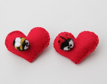 Heart Brooch Broach Badge Pin With Ladybird Ladybug or Bumble Bee Insect Felt Wool Little Cute Baby Valentines Day Present