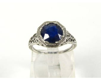 SALE Blue Sapphire Engagement Ring 2cts Vintage Blue Wedding