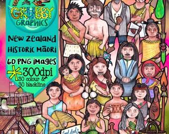 Historic Maori Clip Art, Instant Digital Download