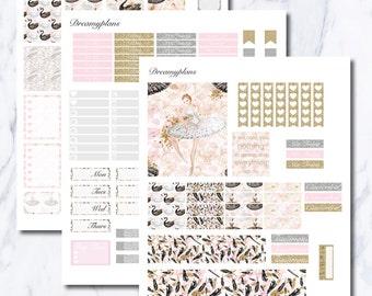 Swan Lake Printable Vertical Erin Condren Planner Stickers Kikki K Personal