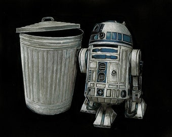 Star Wars R2D2 Original Framed Artwork R2D2 And a Trashcan by Nathan Anderson Droids George Lucas Robot Kenny Baker