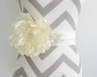 Flower Bridal Sash / Spring Bridal Sash /