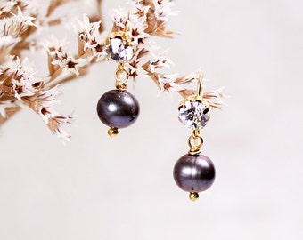 black pearl earrings lollipops radiance bridal jewelry pearl dangles purple gold bridal gift for her winter wedding bridesmaid gifts SJ26