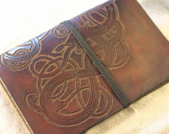 Field Notes Leather Traveler's Notebook Cover / Midori or Fauxdori Style Journal with Original Norse Viking Design - Fits Small Inserts
