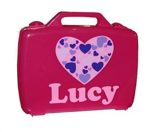 Personalized Carrying Case - Valentine's Day Hearts