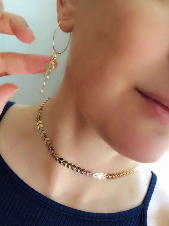 Chevron Gold Choker, boho jewelry