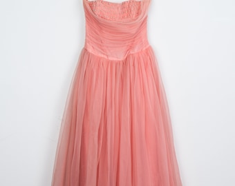 Vintage Pink Tulle Party Dress with Pearl Detail