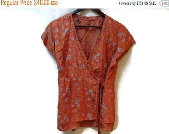 SALE Silk Kimono Wrap Top - Orange Floral print - Size M L - One size - Vintage