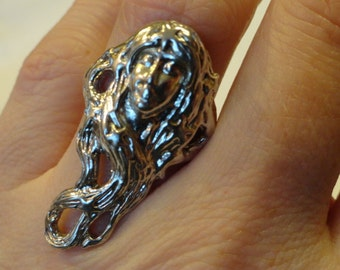Art Nouveau Goddess Ring Sterling Silver Statement Ring