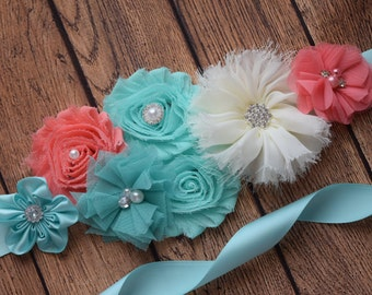 Sash, Aqua , coral and ivory Sash, #4 , flower Belt, maternity sash