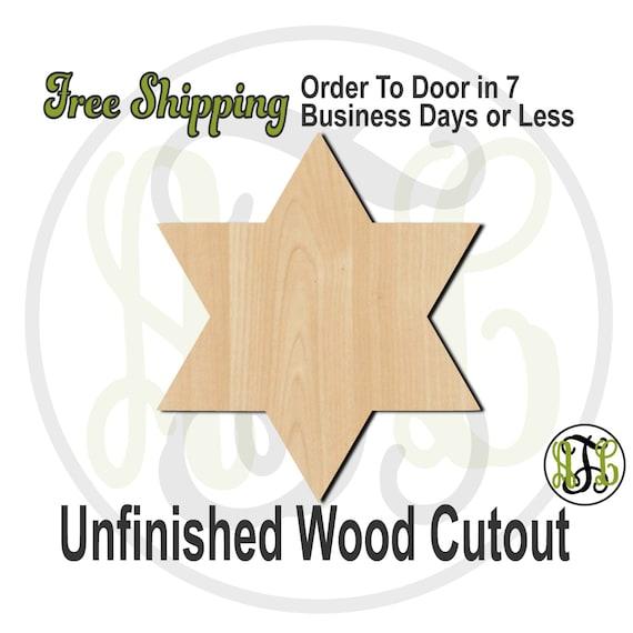 "Star of David- 2"" to 6"" Minis- 290011- Small Wood Cutout, unfinished, wood cutout, wood craft, laser cut, wood cut out, ornament"