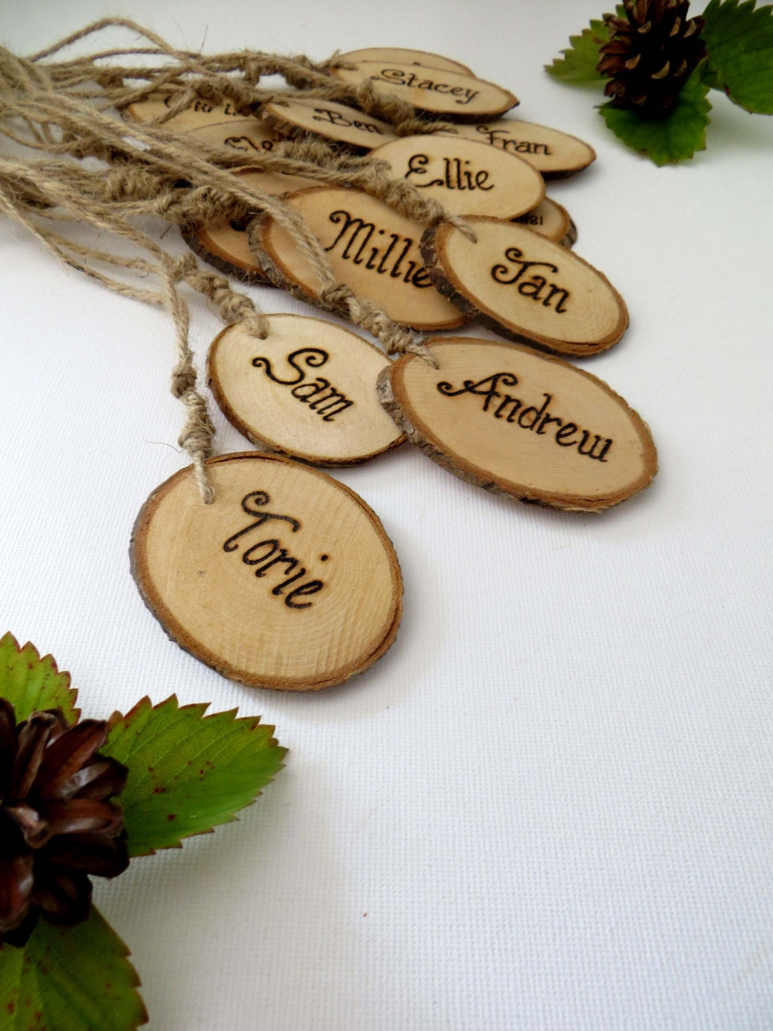 Fresh Rustic wooden Wedding name tags- Key Ring * place cards - Escort  NS25