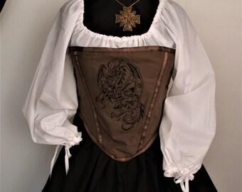 Renaissance Buccaneer Pirate Wench Bodice Chemise Skirt Costume