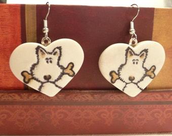 Cute Dog Earrings, Dog Jewelry, Pet Lover Gift, Dog Heart Earrings, Puppy Earrings, handmade polymer clay