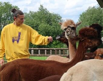 Alpaka Sweatshirt /Alpaca Sweatshirt - Pullover - HANDPRINTED -  UNISEX