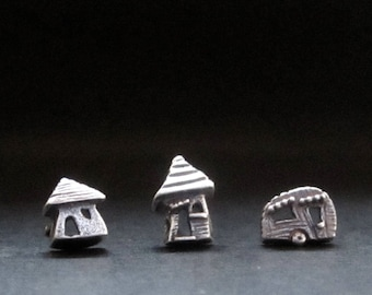 Camper & House Mix or Match Studs, solid Sterling, handmade earrings recycled sterling silver