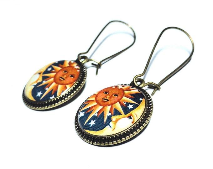 Sun and Moon Earrings, Celestial Earrings, Sun and Moon Jewelry, Dangle Earrings, Handmade, Moon, Resin Jewelry, Space Jewelry, Moon Jewelry